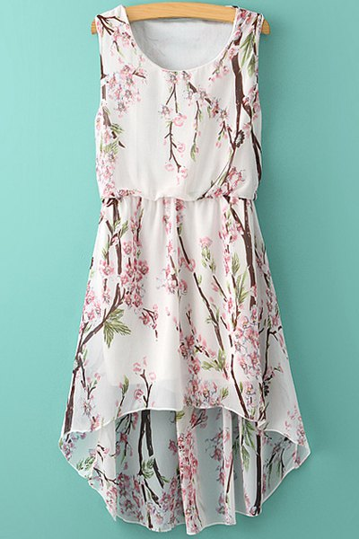 Floral High-Low Hem Chiffon Sundress