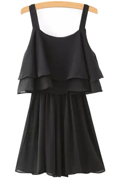 Sleeveless Solid Color Layered Chiffon Dress