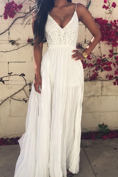 Lace Spliced Open Back Maxi Dress - Casual Dresses For Teenagers With Sleeves 2017
