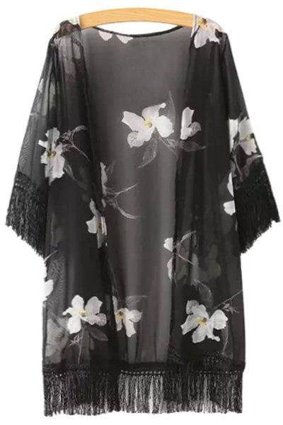 Black Fringe Splicing White Floral Print Half Sleeve Kimono 133273801