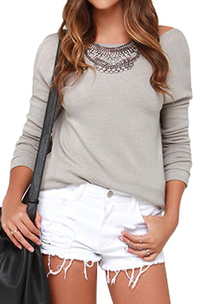 Solid color long sleeve open back t shirt gray tees zaful for Long sleeve open shirt