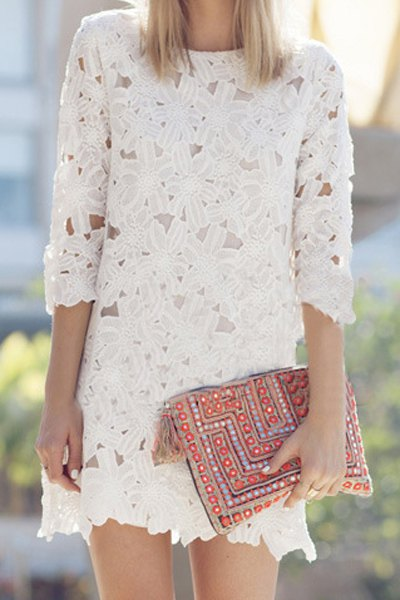 Floral Pattern Solid Color 3/4 Sleeve Dress
