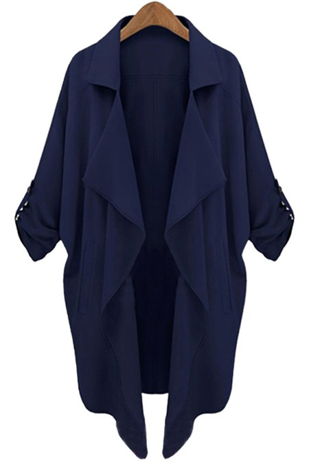 Long Sleeve Solid Color Trench Coat - CADETBLUE S