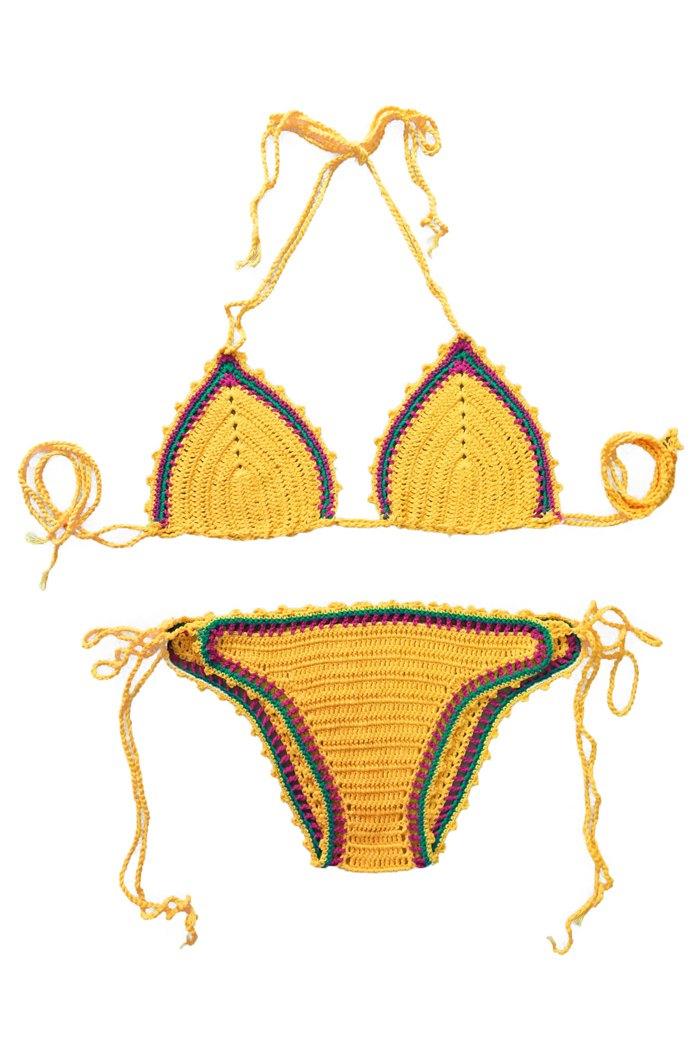 Color Block Tie-Up Knit Bikini Set