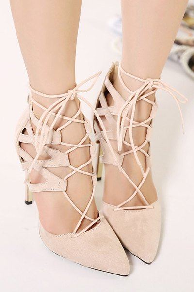 Pointed Toed Solid Color Lace-Up Pumps