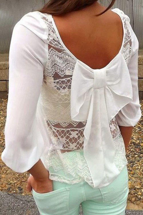 Back see through lace bowknot t shirt white tees zaful for Shirts with see through backs