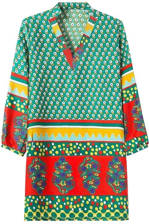 V-Neck Tiny Floral Print Color Block Long Sleeve Dress