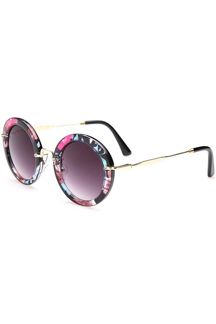 Flower Pattern Round Sunglasses - BLACK