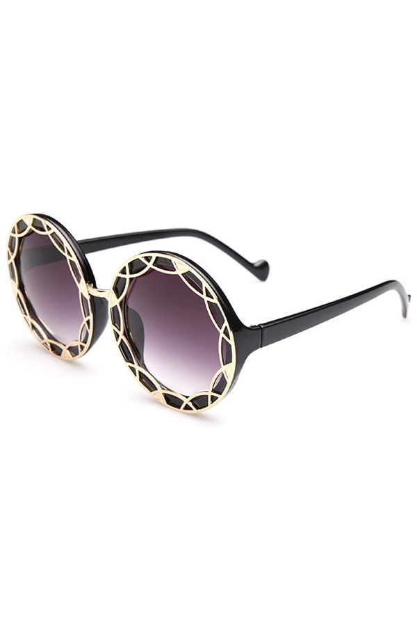 Hollow Out Alloy Round Sunglasses