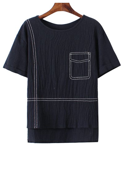 Pocket pattern embroidery high low t shirt cadetblue tees