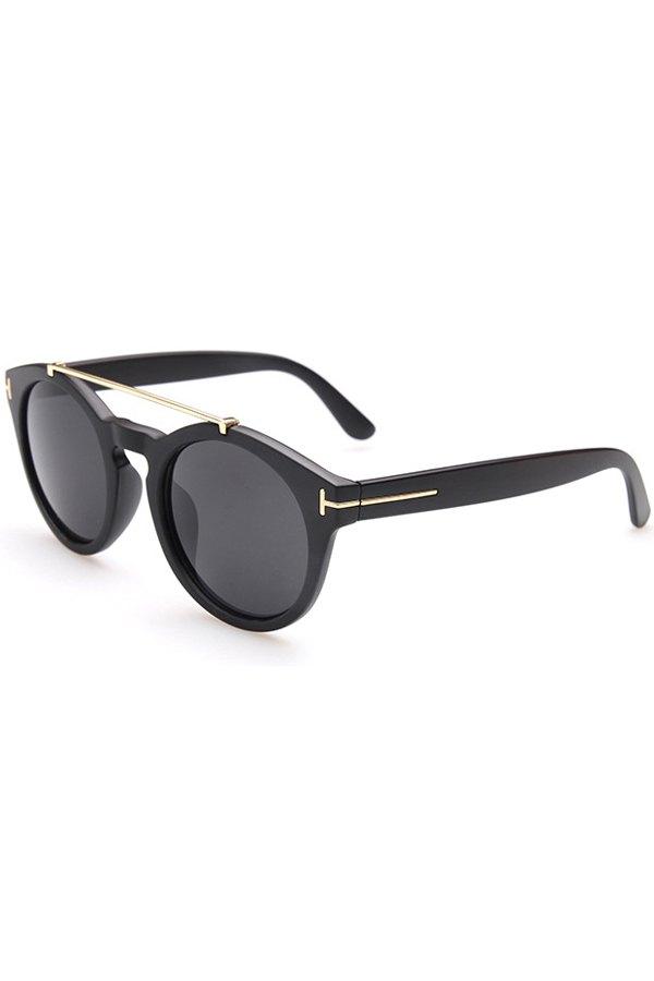 Alloy Embellished Matte Black Sunglasses