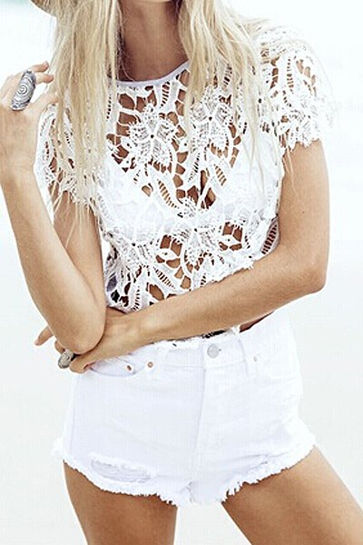 Floral Pattern Lace See Through T Shirt White Tees Zaful