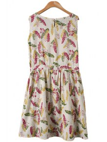 Leaves Print Tie-Up Sleeveless Dress - FLAXEN M