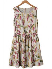 Leaves Print Tie-Up Sleeveless Dress
