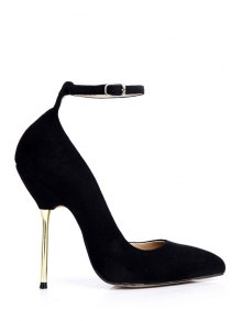 Buy Ankle Strap Pointed Toe Suede Pumps - BLACK 38