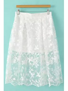 Floral Pattern Embroidery Skirt