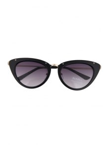 Butterfly Wings Shape Solid Color Frame Sunglasses - BLACK