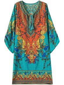 3/4 Sleeve Retro Print Dress - Turquoise M