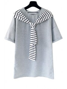 Stripe Spliced Short Sleeve T-Shirt