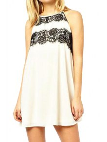 Black Lace Splicing Backless Sleeveless Dress - White M