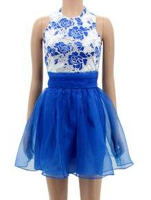 Floral Spliced Sleeveless A-Line Dress - Blue L