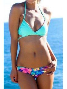 Halter Neck Floral Print Tie-Up Bikini Set - Blue
