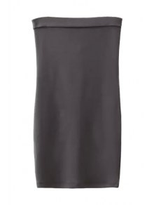 Strapless Solid Color Back Zipper Sleeveless Dress - Gray S