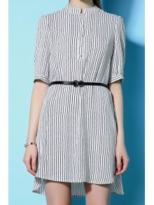 Stripe Stand Neck Half Sleeve Dress - White M