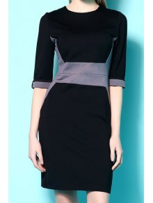 Half Sleeves Color Block Dress - Black Xl