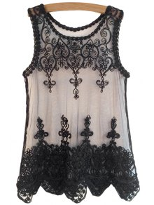 Black Lace Embroidery Sleeveless Tank Top - Black