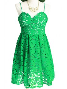 Spaghetti Strap Floral Pattern Openwork Dress - Green S