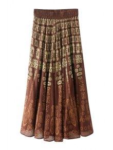 Totem Print Elasitic Waist Long Skirt