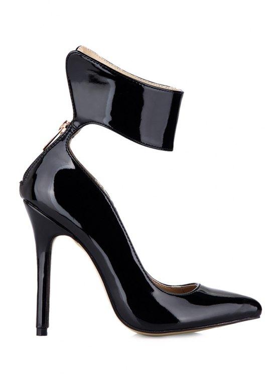 trendy Stiletto Heel Black Patent Leather Pumps - BLACK 35