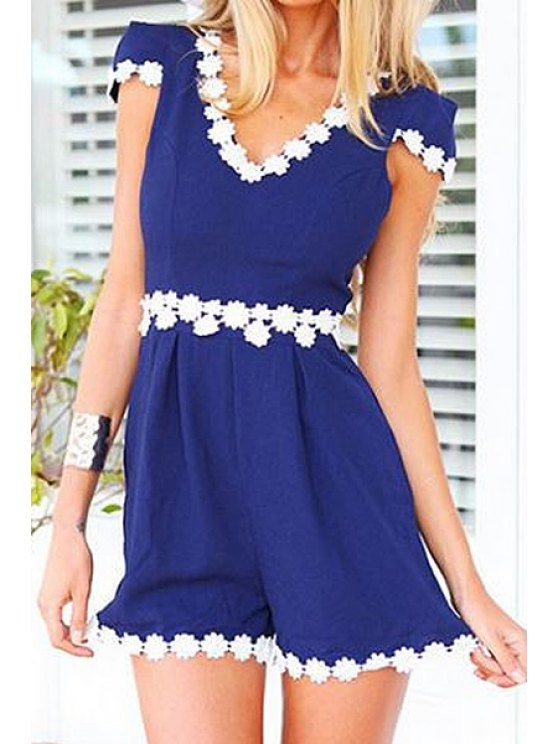 shops White Floral Lace Splicing Short Sleeve Romper - BLUE S