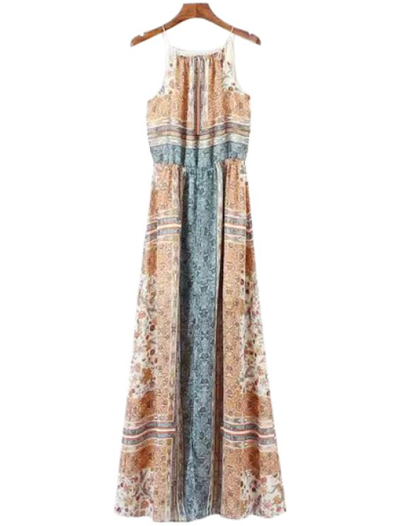 buy Vintage Print Spaghetti Straps Maxi Dress - COLORMIX S