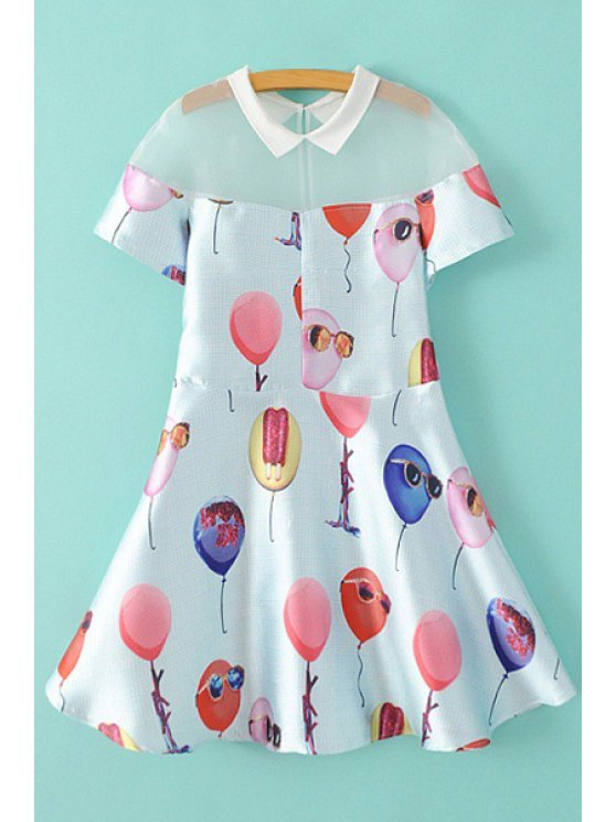 best Balloon Print Short Sleeve A Line Dress - WHITE S