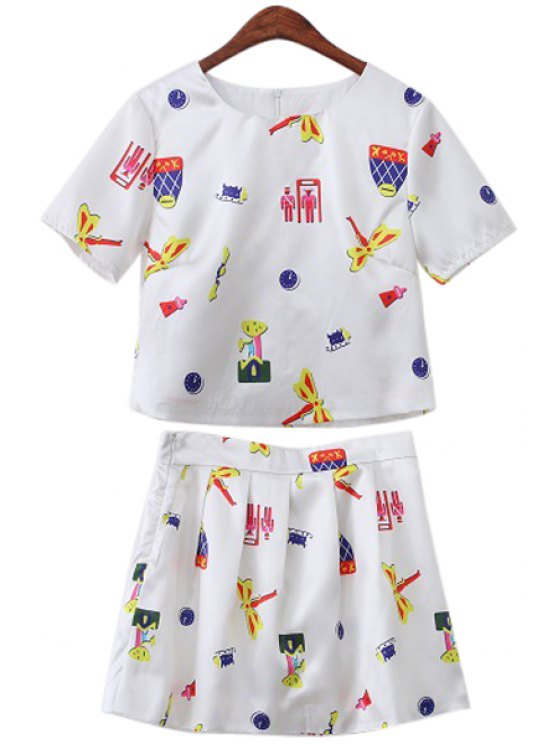womens Dragonfly Print Short Sleeve T-Shirt and A Line Skirt Suit - WHITE S
