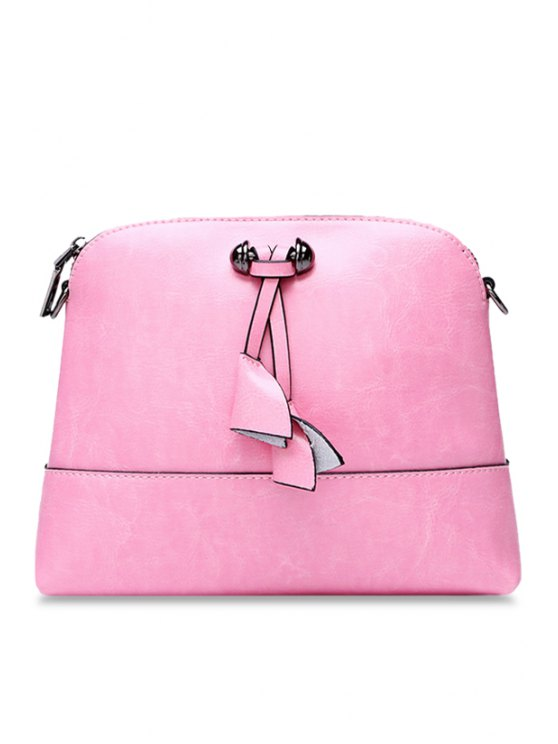 sale Candy Color PU Leather Crossbody Bag - PINK