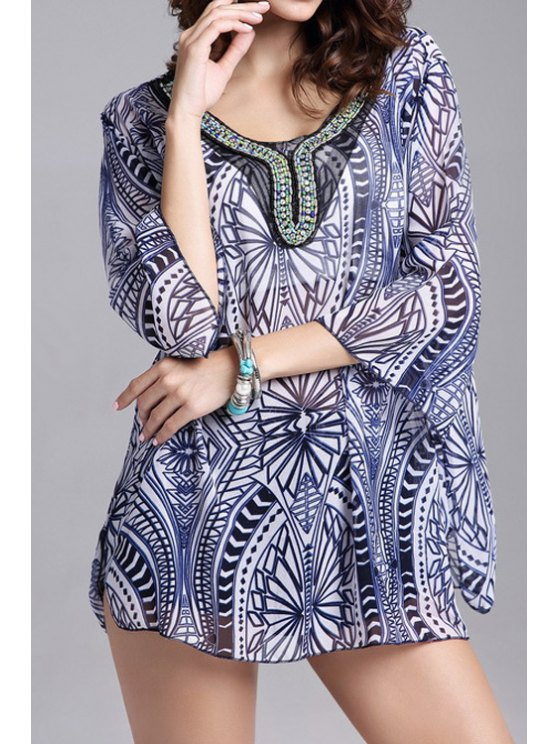 outfits Geometric Print 3/4 Sleeve Chiffon Blouse - BLUE ONE SIZE(FIT SIZE XS TO M)