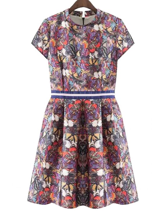 lady Butterfly Print Ruffle Short Sleeve Dress - DARK RED S