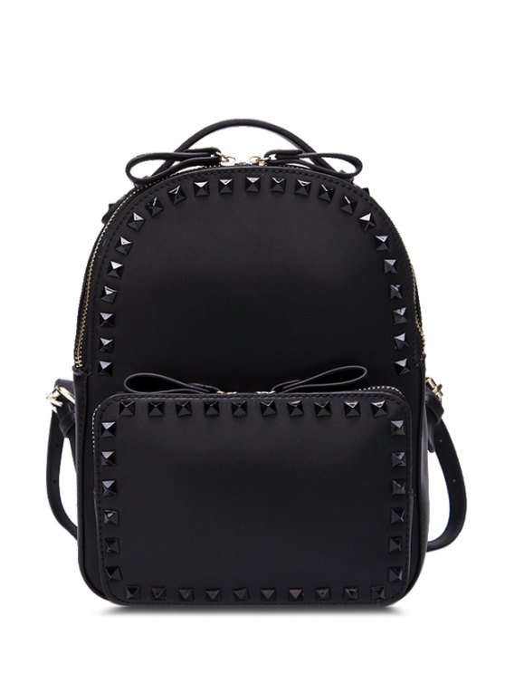 new Candy Color Rivets Pu Leather Satchel - BLACK