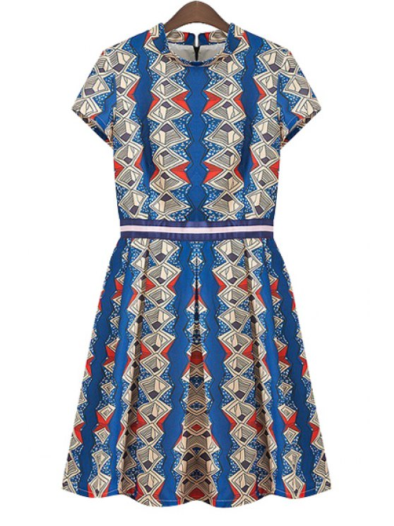 outfit Argyle Print Ruffle Short Sleeve Dress - BLUE S