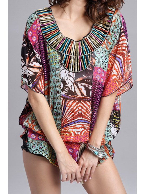shops Colorful Print Half Sleeve Blouse - COLORMIX ONE SIZE(FIT SIZE XS TO M)