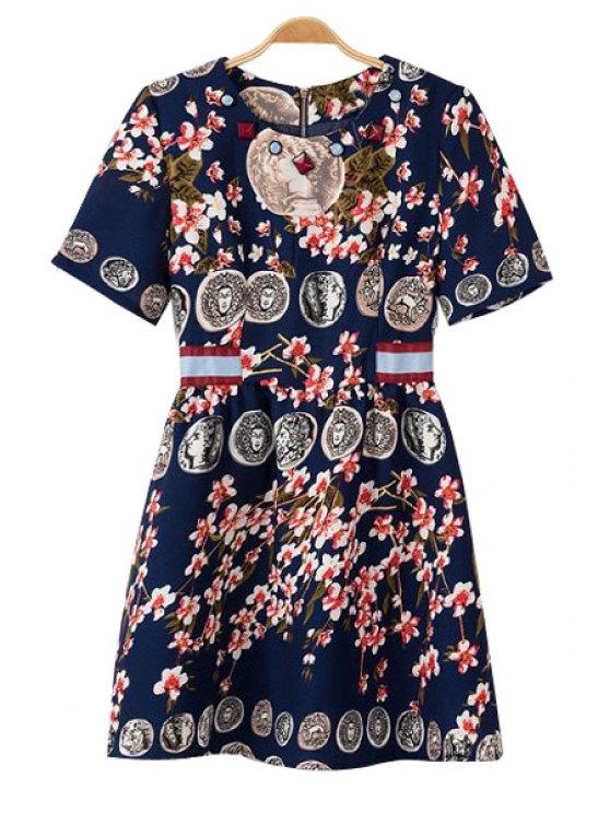shops Figure Floral Print Short Sleeve Dress - PURPLISH BLUE S