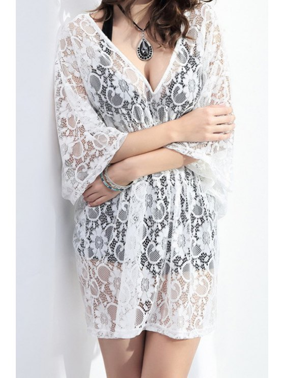 affordable Plunging Neck White Lace Cover Up - WHITE ONE SIZE(FIT SIZE XS TO M)