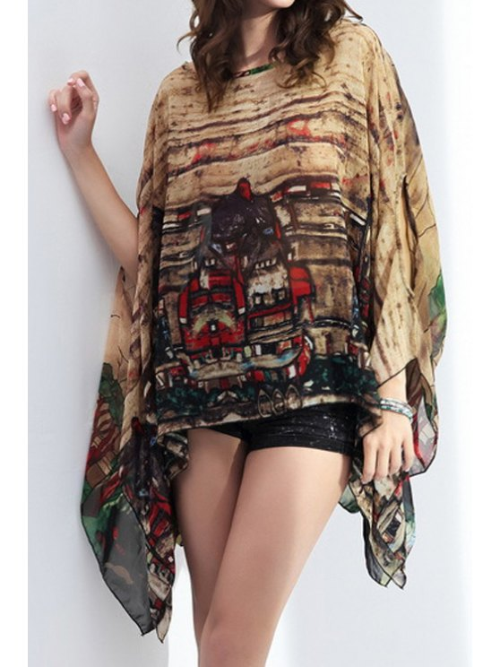 fashion Abstract Print Bat-Wing Sleeve Blouse - COFFEE ONE SIZE(FIT SIZE XS TO M)