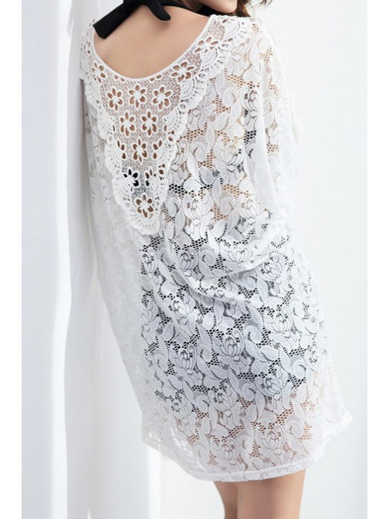 ladies Lace Plunging Neck White Cover Up - WHITE ONE SIZE(FIT SIZE XS TO M)