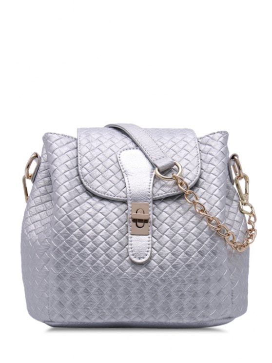 fashion Hasp Checked Pu Leather Shoulder Bag - SILVER