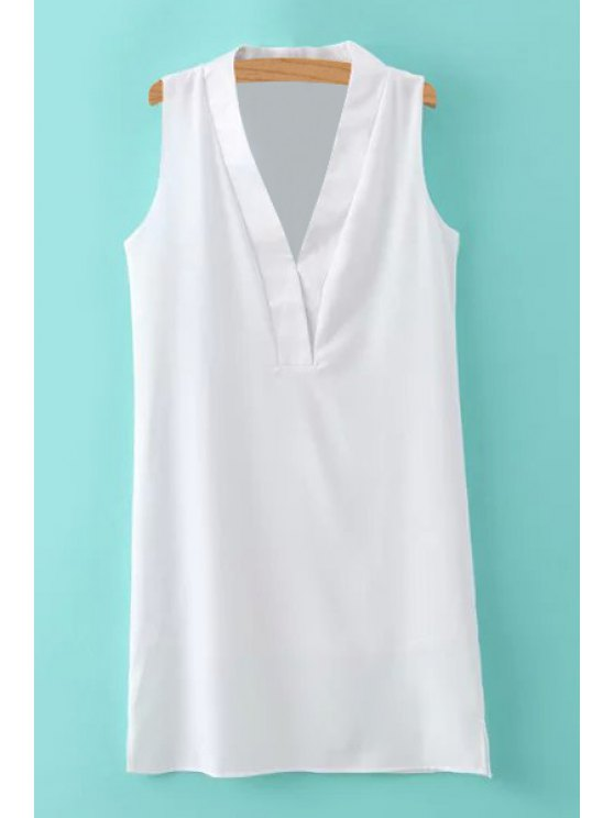 latest Solid Color Straight Sleeveless Dress - WHITE S