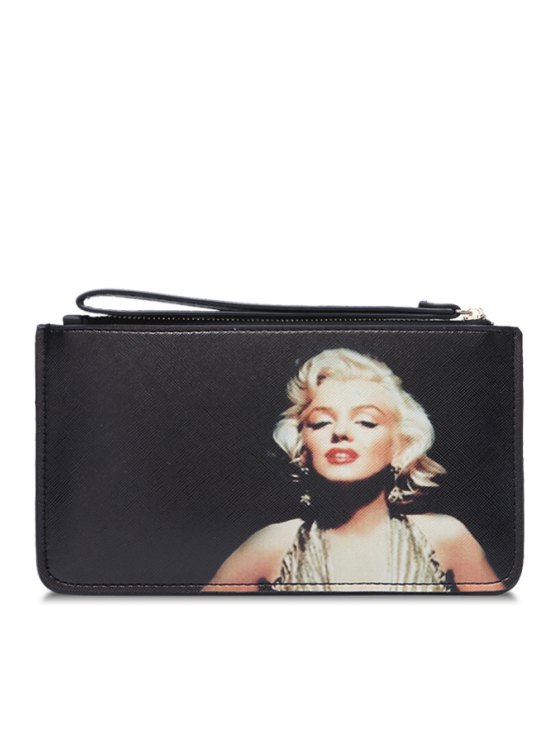 lady Lady Pattern Pu Leather Clutch Wallet - OFF-WHITE